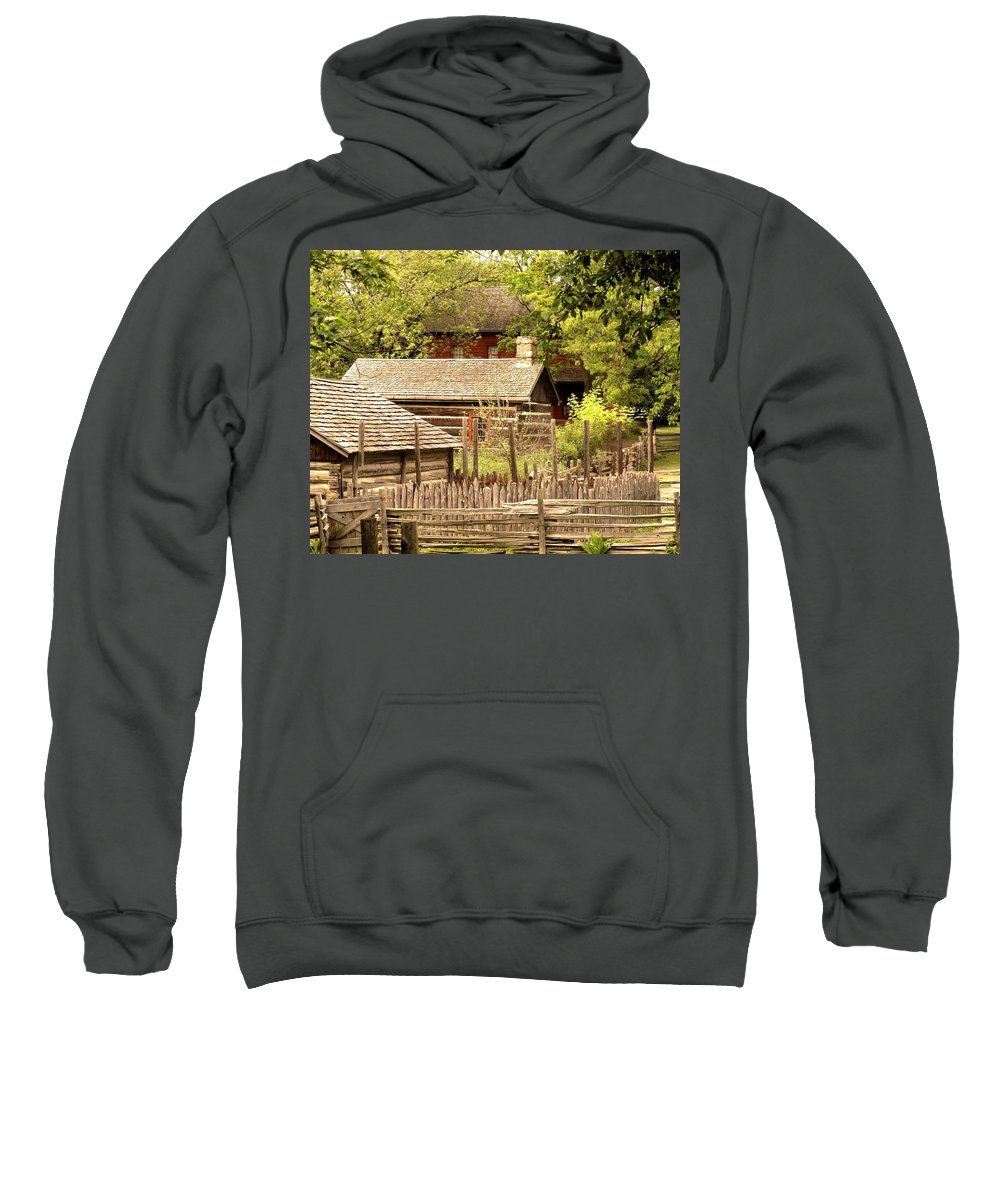 Log Cabins Sweatshirt featuring the photograph The Homestead by Ian MacDonald