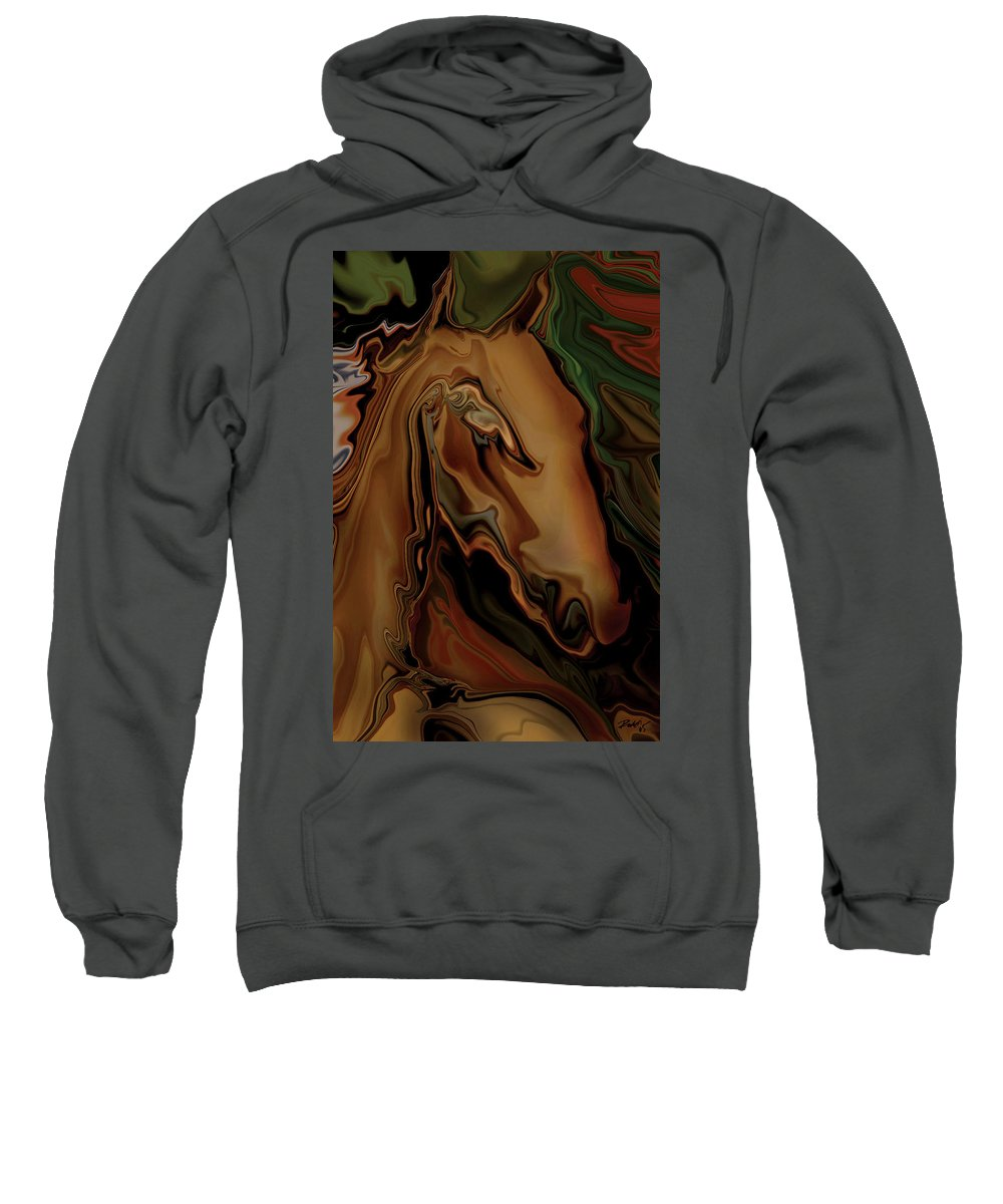 Animal Sweatshirt featuring the digital art The Horse by Rabi Khan