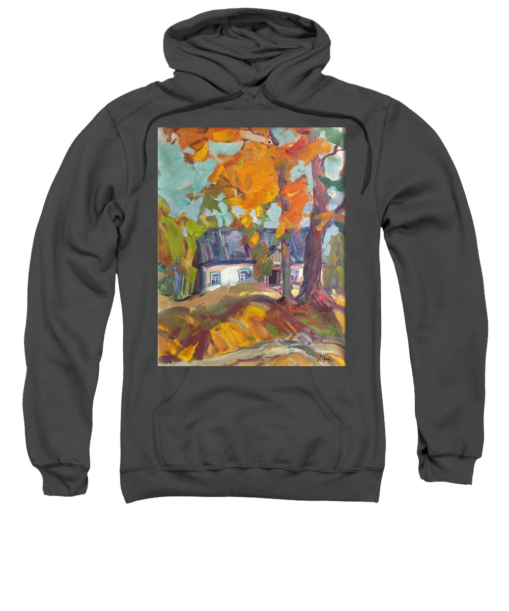 Oil Sweatshirt featuring the painting The House In Chervonka Village by Sergey Ignatenko