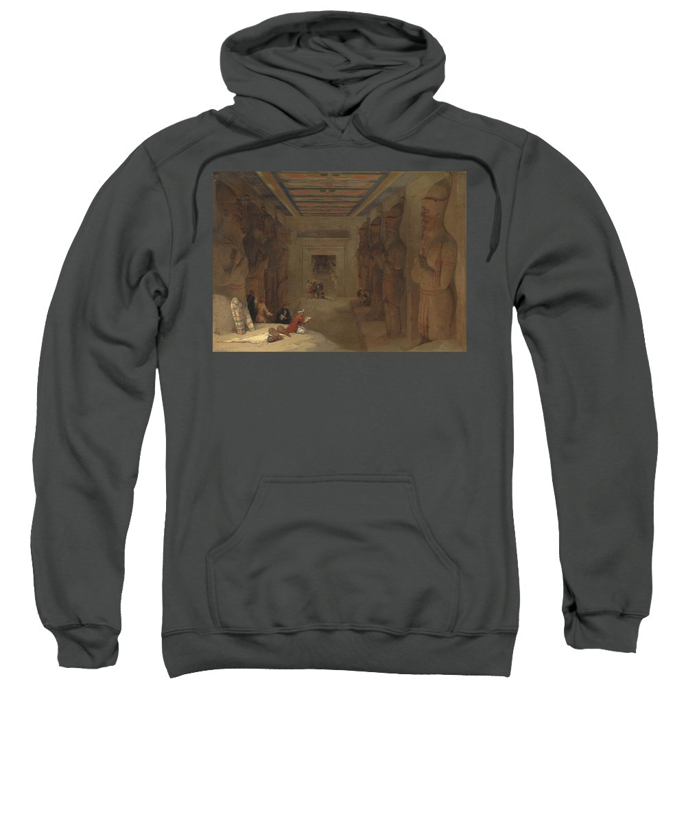 David Roberts Sweatshirt featuring the painting The Hypostyle Hall Of The Great Temple At Abu Simbel Egypt by David Roberts