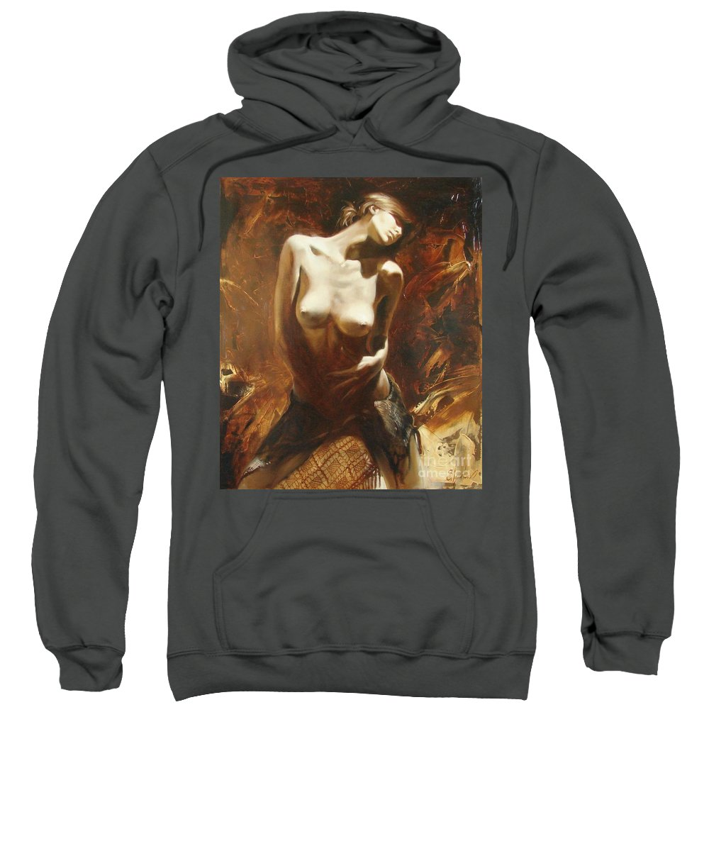 Oil Sweatshirt featuring the painting The Incinerating Passion by Sergey Ignatenko