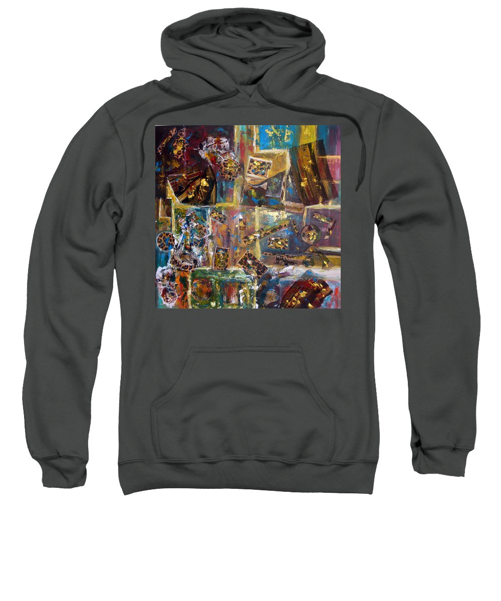 Collage Painting Sweatshirt featuring the painting The Infinite Passion Of Life by Yael VanGruber