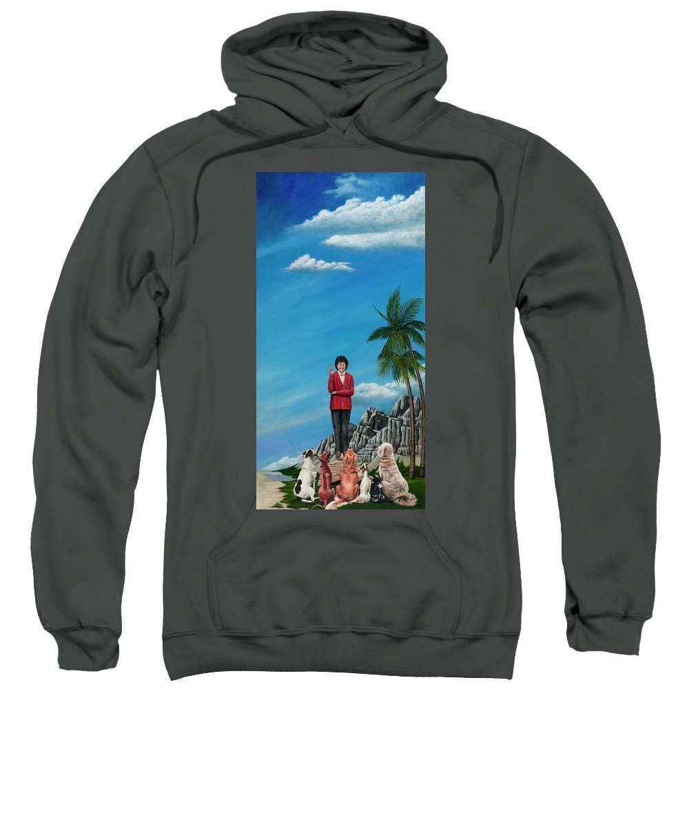 Dog Sweatshirt featuring the painting The Journey Of A Dog Trainer by Cindy D Chinn