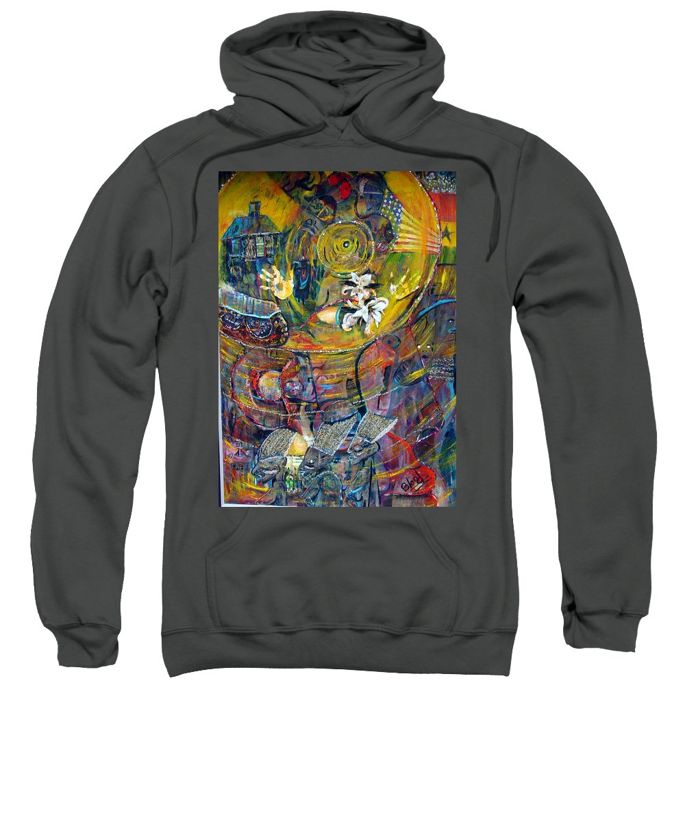 Figures Sweatshirt featuring the painting The Journey by Peggy Blood