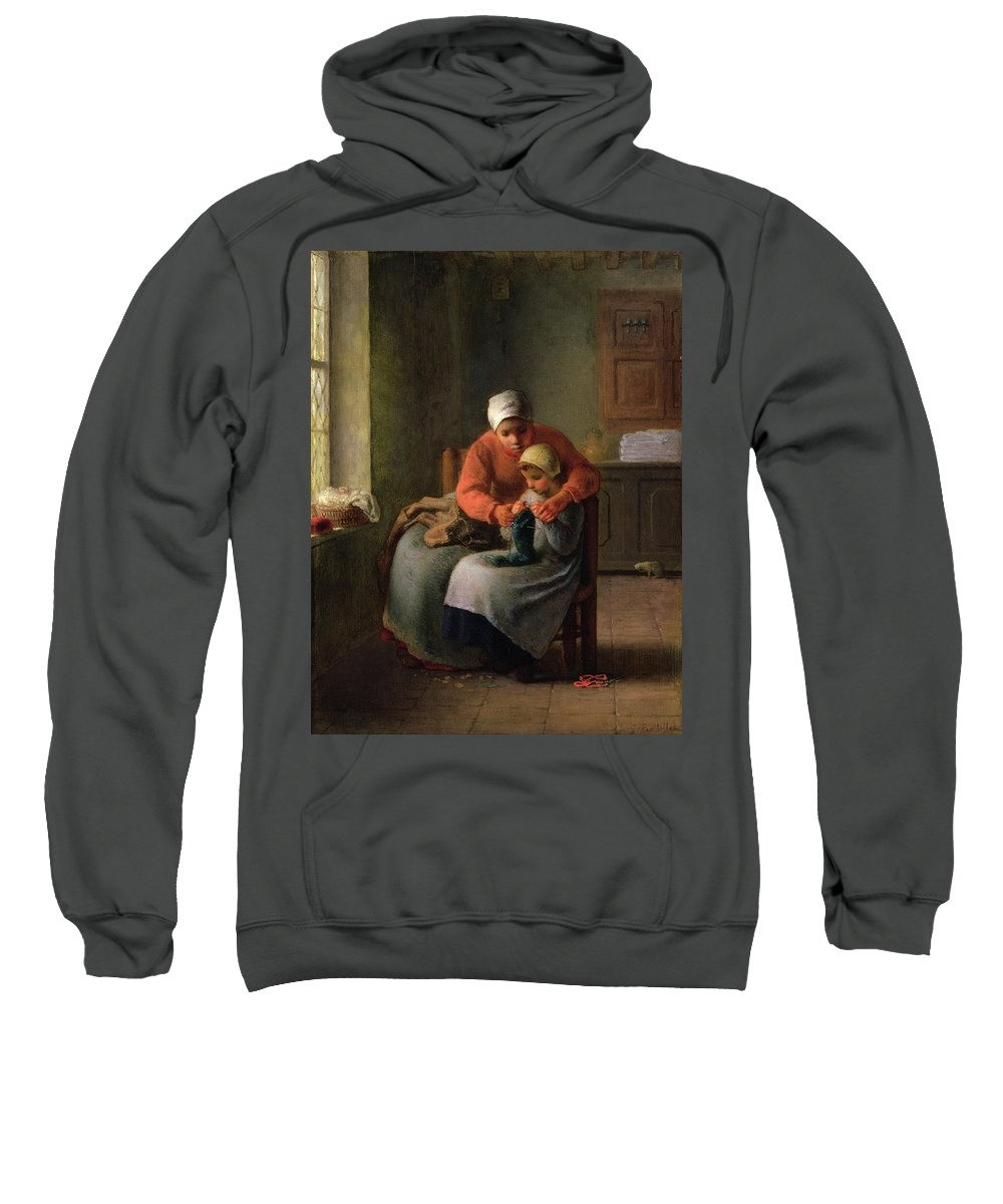 Barbizon School Sweatshirt featuring the painting The Knitting Lesson by Jean-Francois Millet