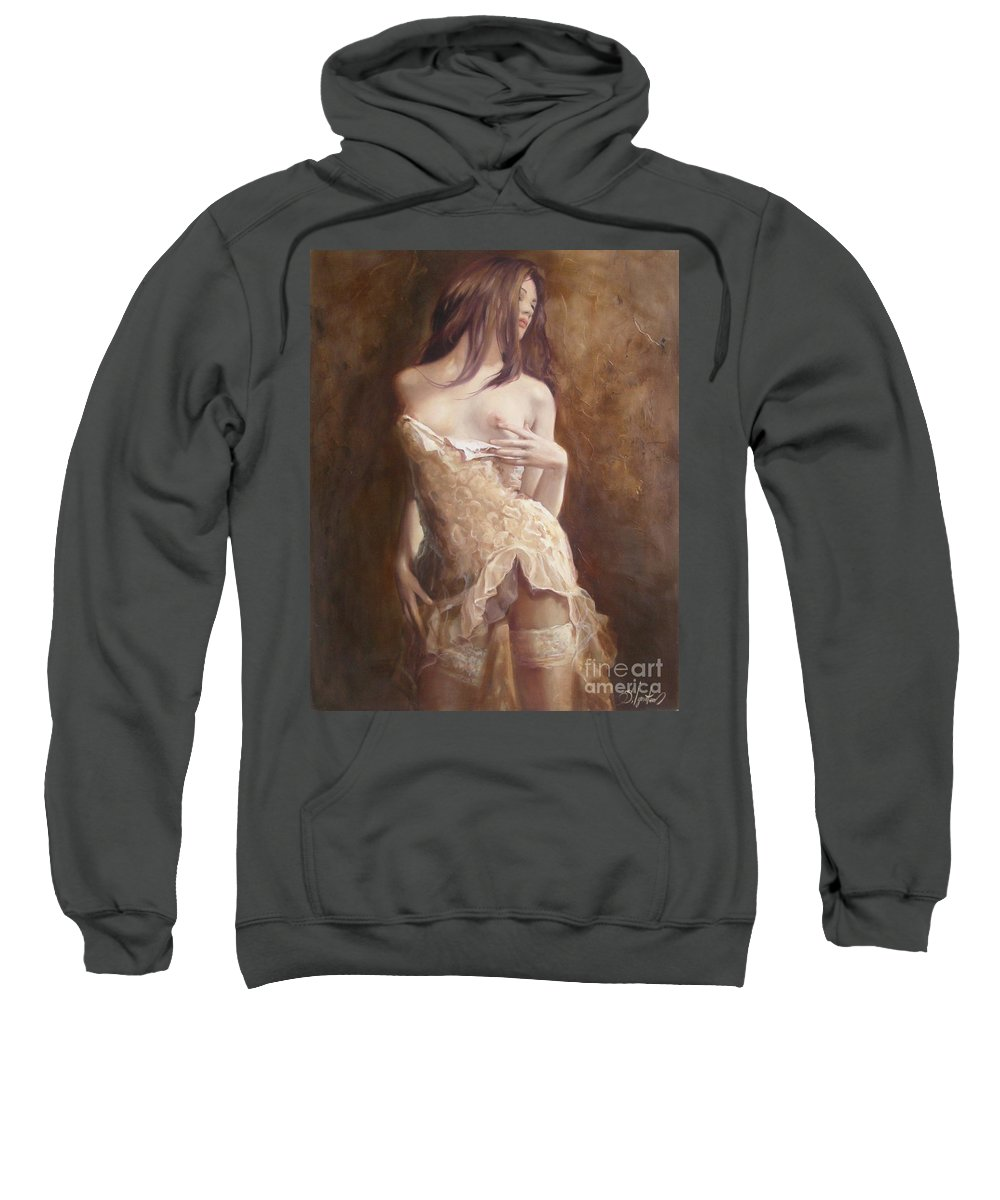 Art Sweatshirt featuring the painting The Laces by Sergey Ignatenko