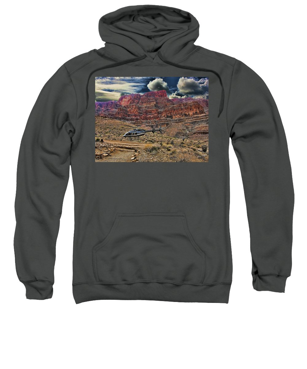 Helicopter Sweatshirt featuring the photograph The Landing by Douglas Barnard