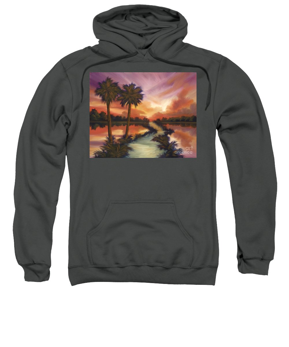 Skyscape Sweatshirt featuring the painting The Lane Ahead by James Christopher Hill