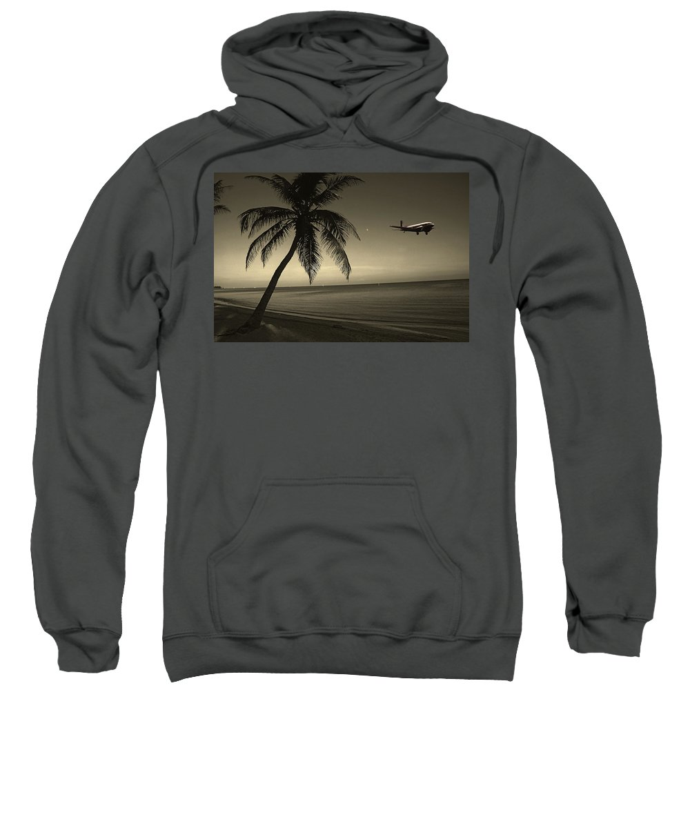 Palm Sweatshirt featuring the photograph The Last Flight Out by Susanne Van Hulst