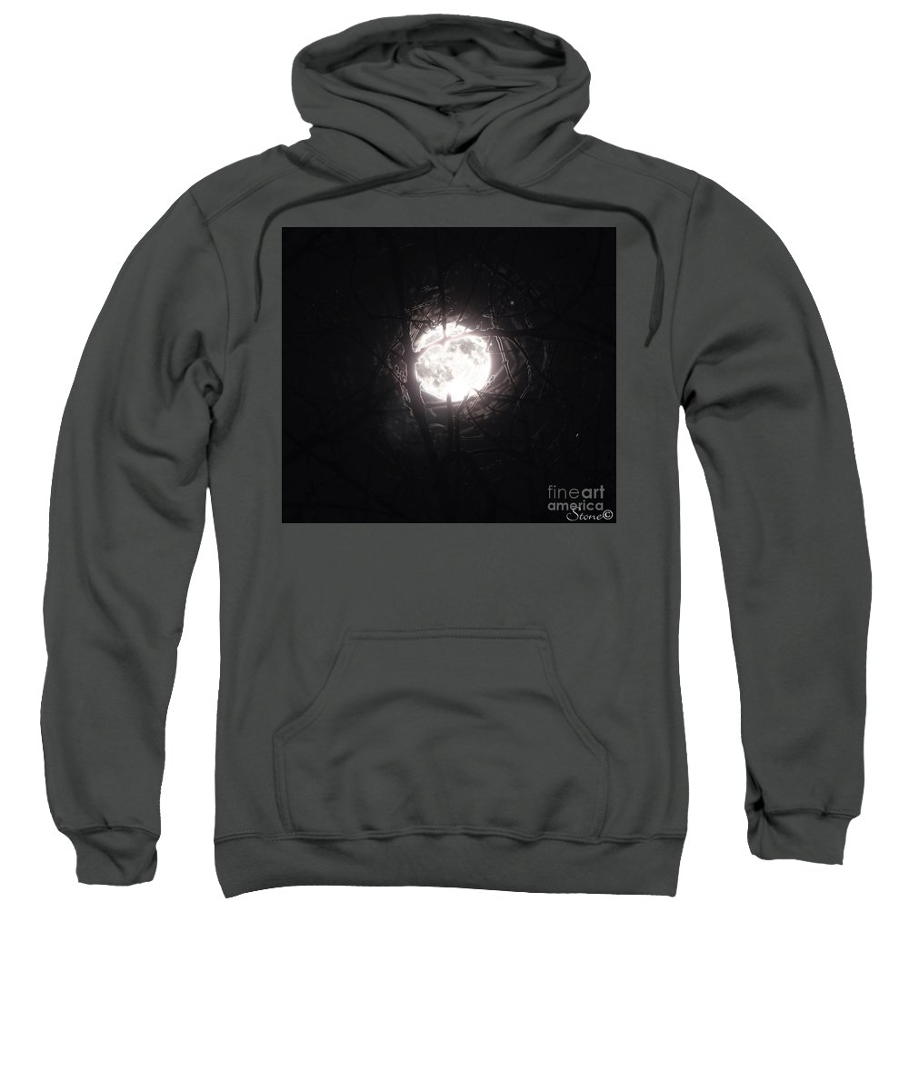 Night Sweatshirt featuring the photograph The Last Nights Moon by September Stone