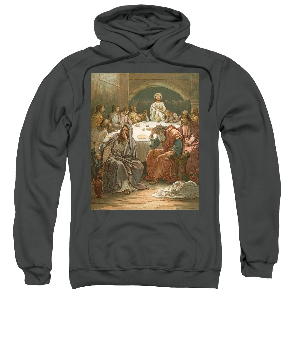 Bible; The Last Supper; Jesus Christ; Judas Isacariot; Breaking Bread; Wine Sweatshirt featuring the painting The Last Supper by John Lawson
