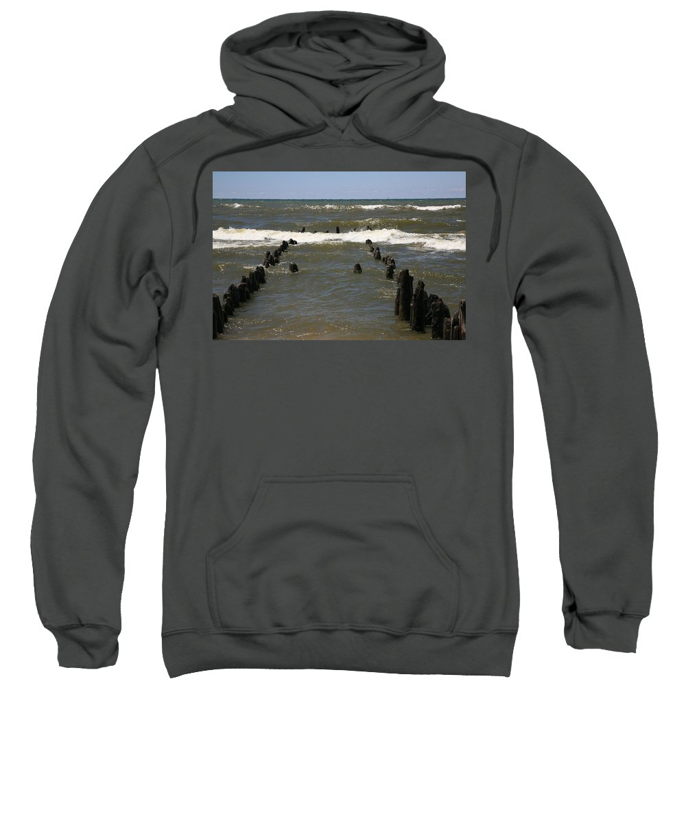 Sand Surf Sweatshirt featuring the photograph The Last Wooden Pier by Robert Pearson