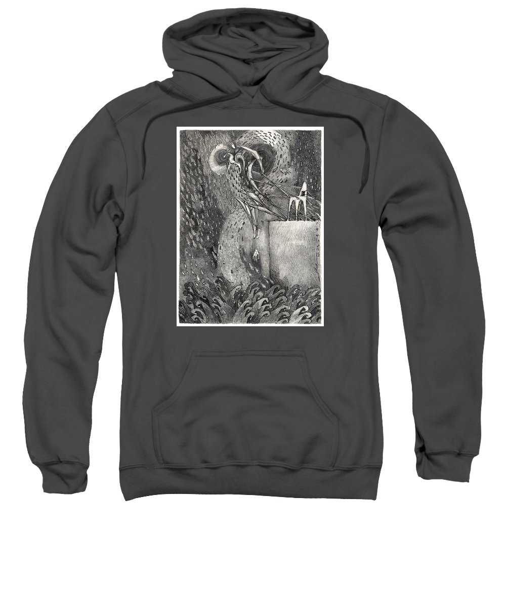 Leap Sweatshirt featuring the drawing The Leap by Juel Grant