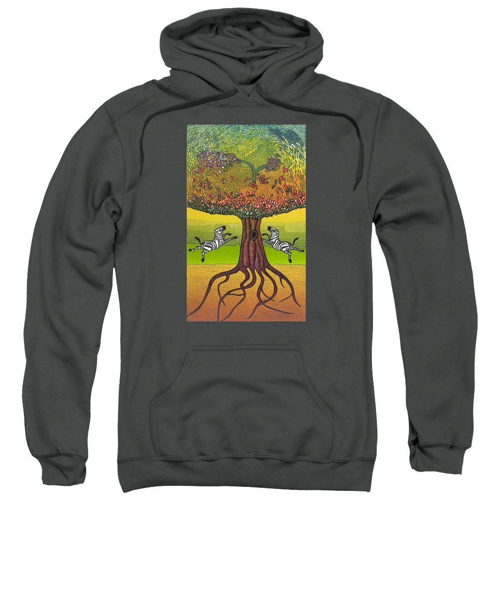 Landscape Sweatshirt featuring the mixed media The Life-giving Tree. by Jarle Rosseland