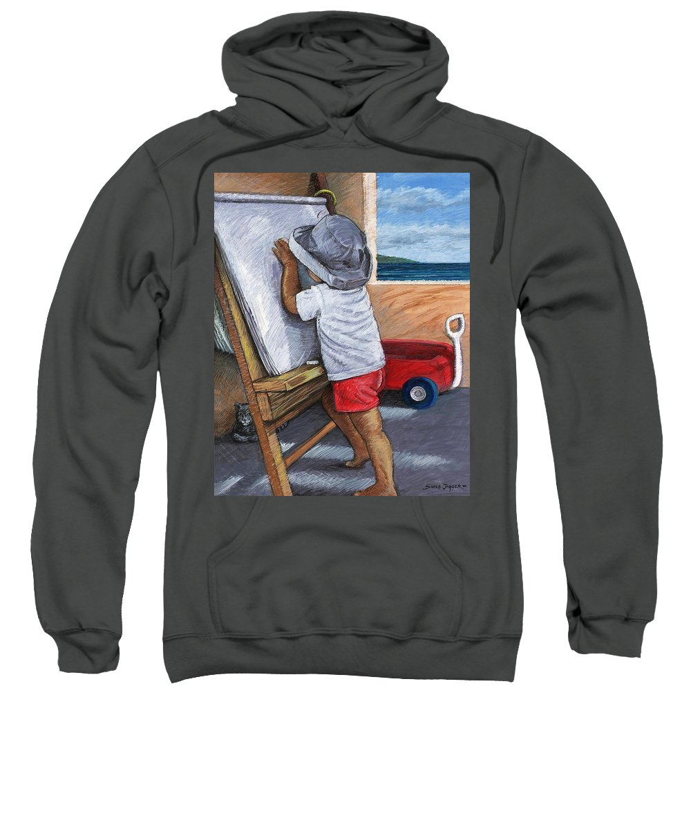 Young Artist Sweatshirt featuring the painting The Little Artist by Snake Jagger