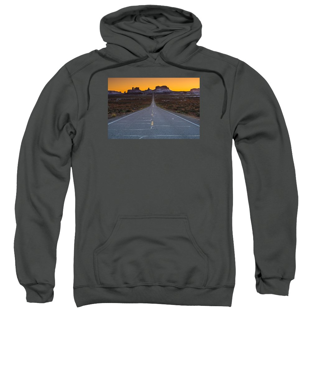 Larry Marshall Photography Sweatshirt featuring the photograph The Long Road To Monument Valley by Larry Marshall