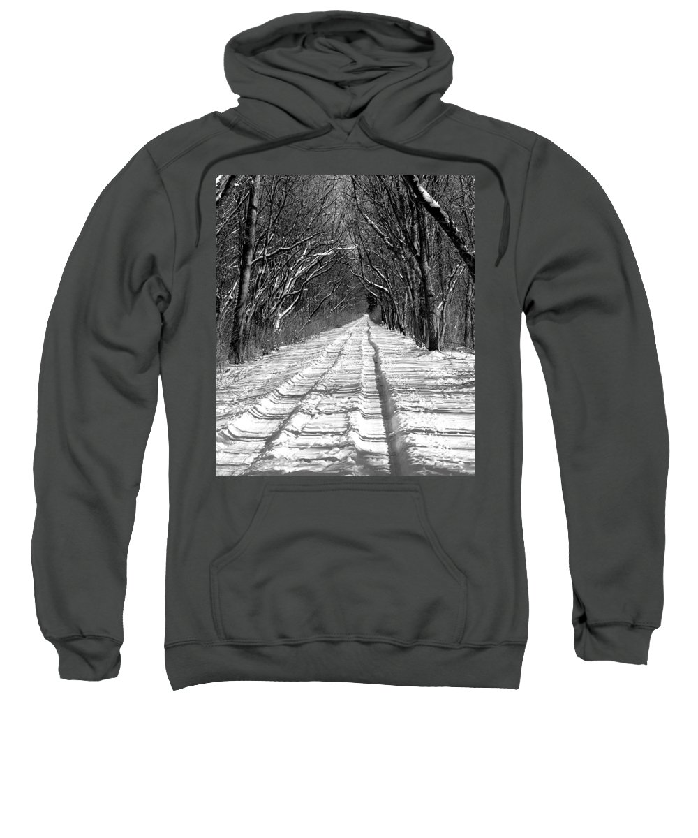 Sweatshirt featuring the photograph The Long Winter Walk by Jenny Gandert