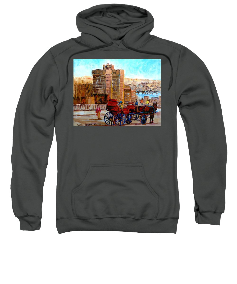 Montreal Street Scene Sweatshirt featuring the painting The Lookout On Mount Royal Montreal by Carole Spandau