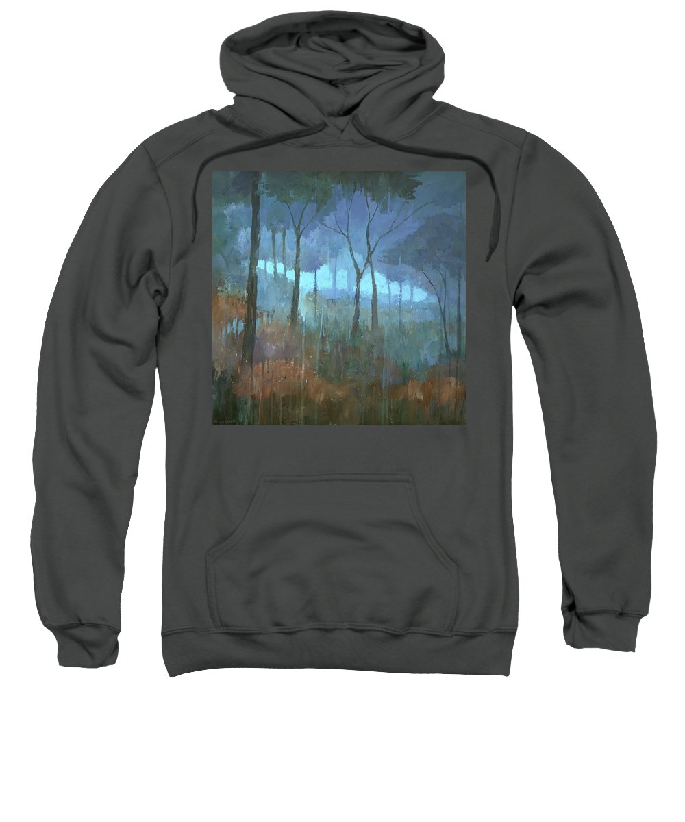 Forest Sweatshirt featuring the painting The Lost Trail by Steve Mitchell