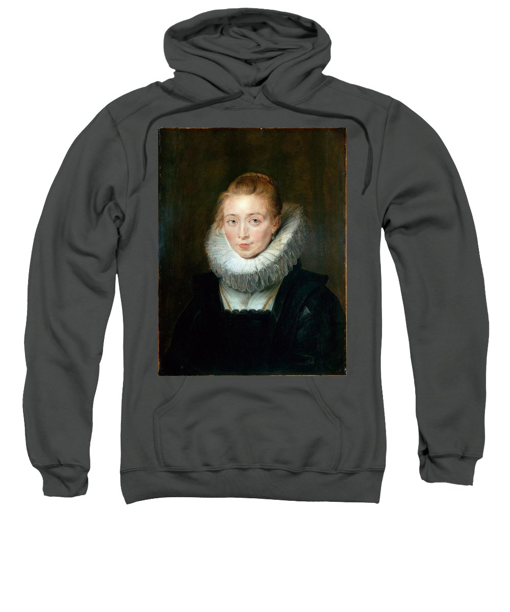 Armor Sweatshirt featuring the digital art The Maid Of Honor To The Infanta Isabella Peter Paul Rubens by Eloisa Mannion