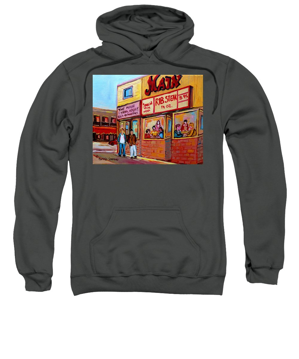 The Main Steakhouse Sweatshirt featuring the painting The Main Steakhouse On St. Lawrence by Carole Spandau