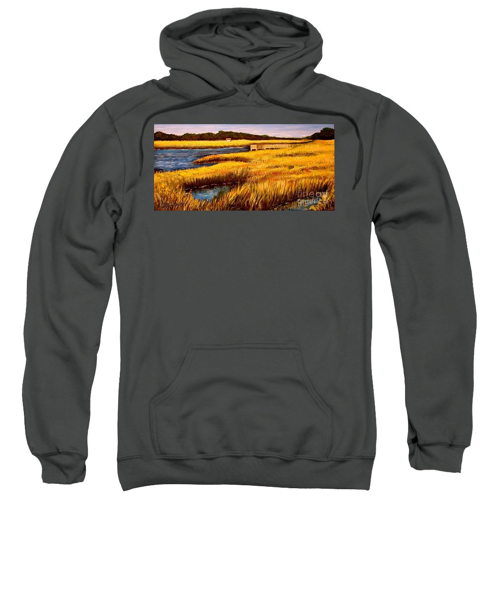 Beaches Sweatshirt featuring the painting The Marsh At Cherry Grove Myrtle Beach South Carolina by Patricia L Davidson