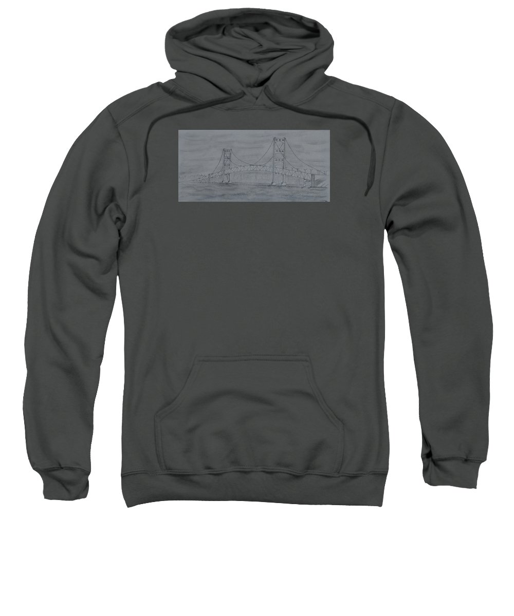 Mighty Sweatshirt featuring the drawing The Mighty Mac by Robert Kelley