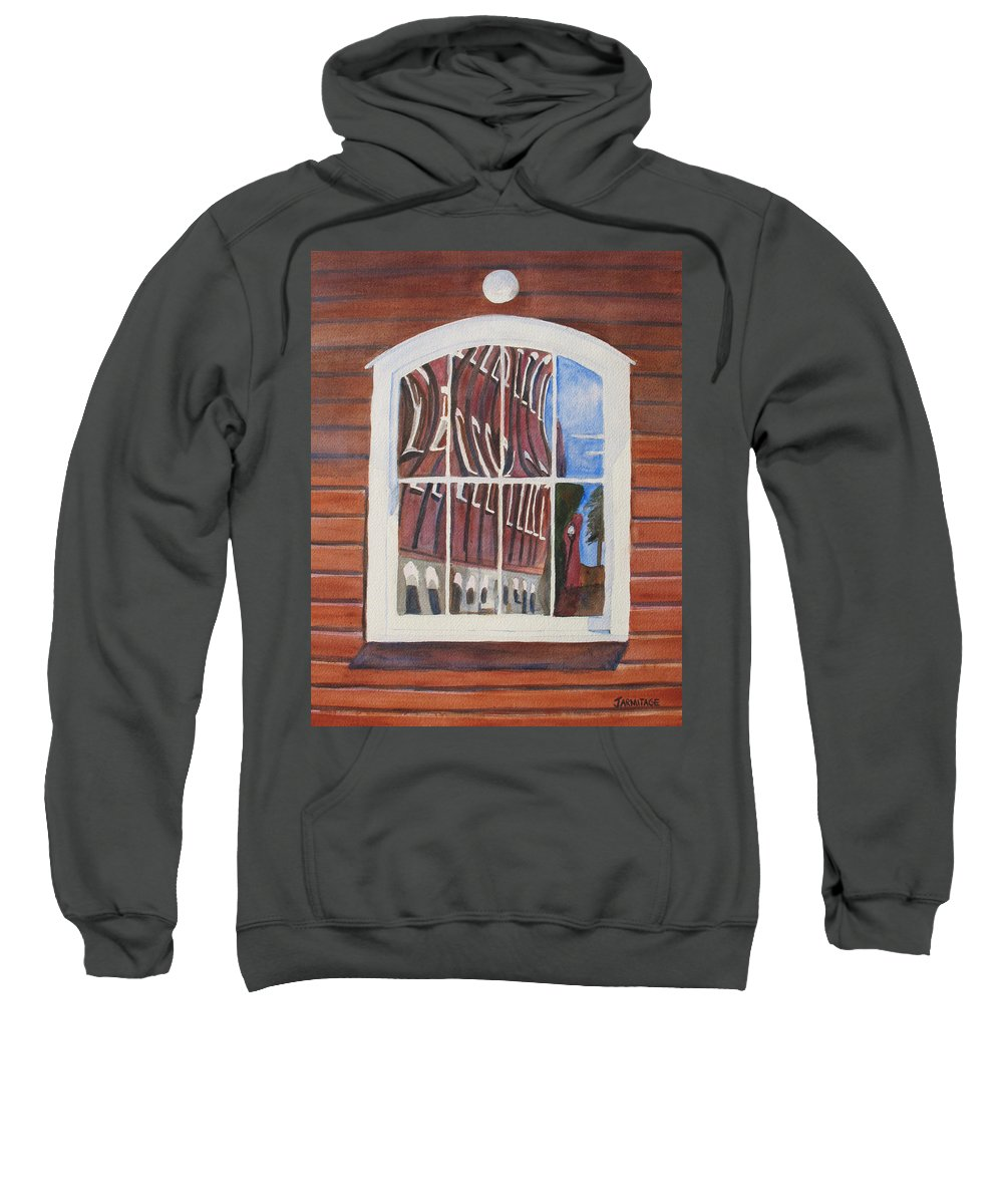 Window Sweatshirt featuring the painting The Mill House Reflects Upon Itself by Jenny Armitage