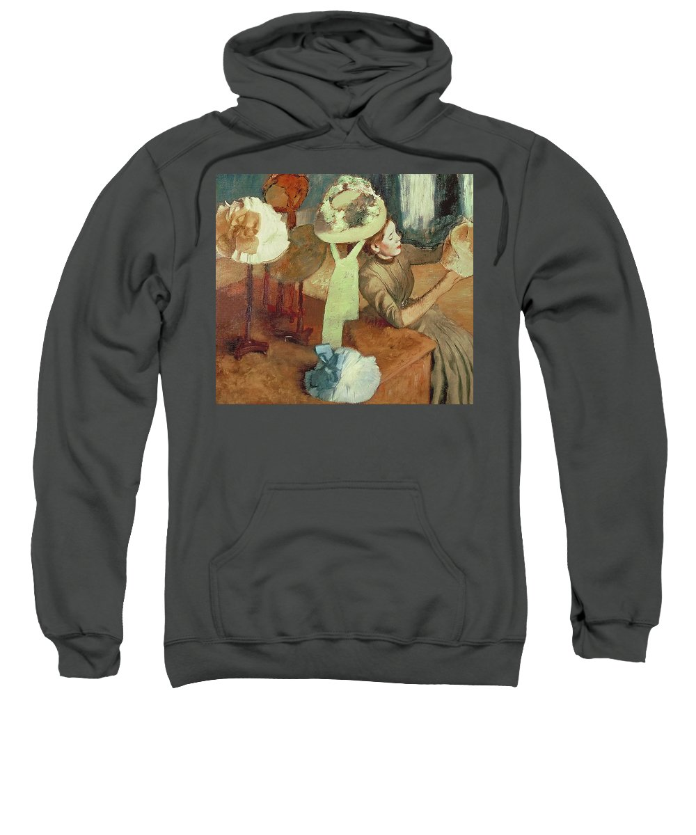 The Millinery Shop Sweatshirt featuring the pastel The Millinery Shop by Edgar Degas
