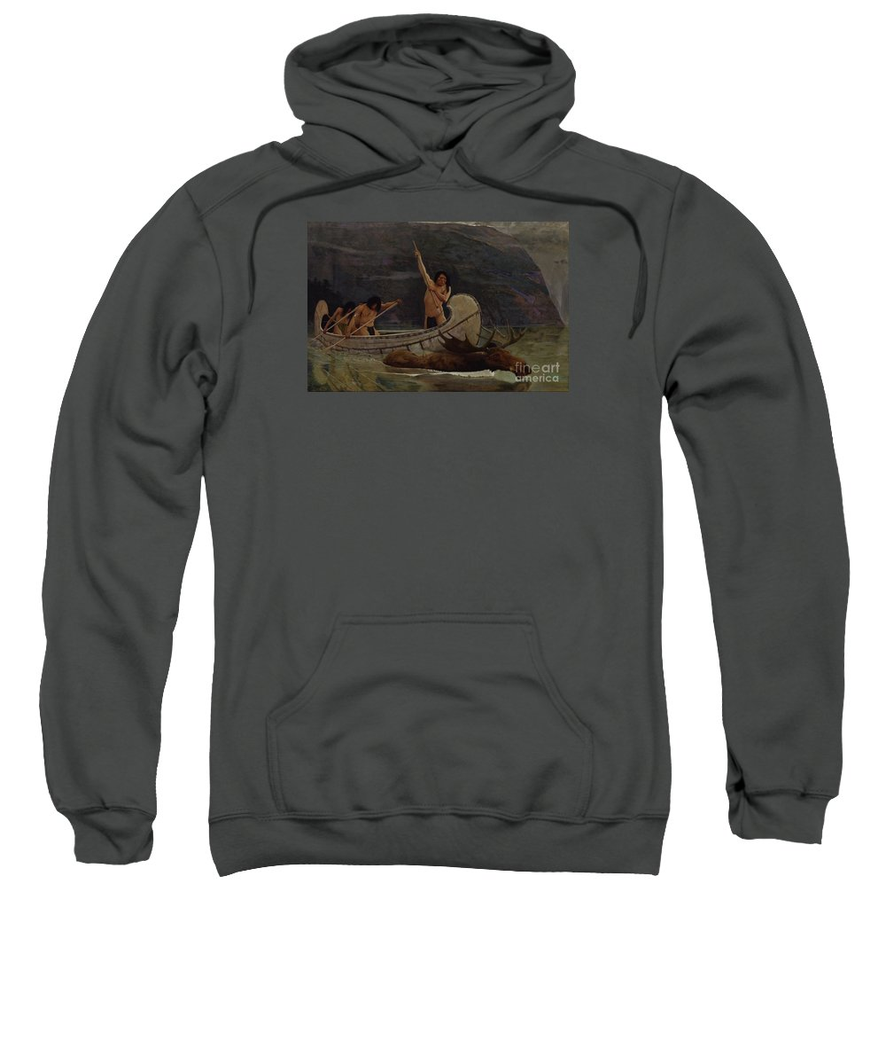 The Moose Chase Sweatshirt featuring the painting The Moose Chase by MotionAge Designs