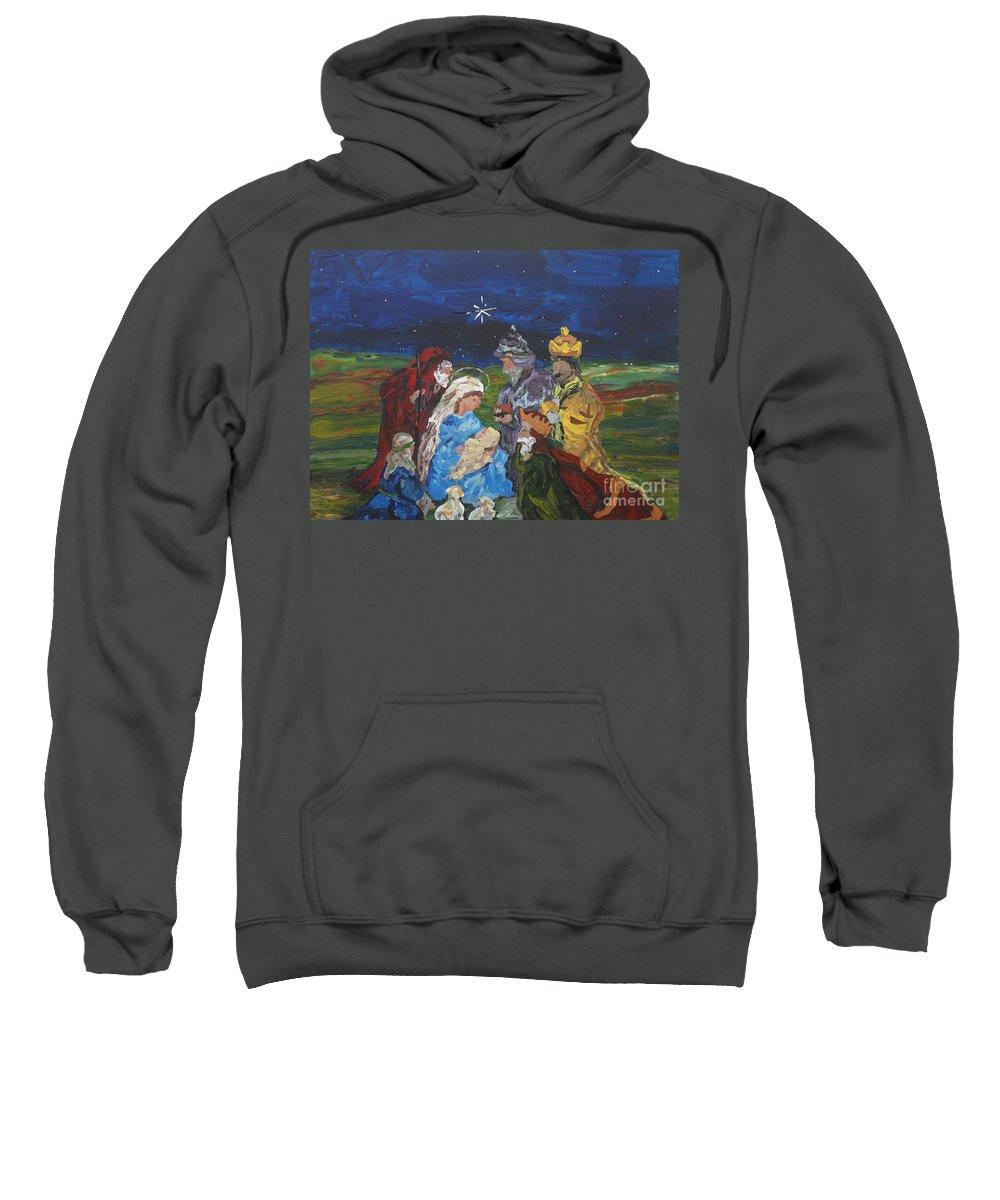 Nativity Sweatshirt featuring the painting The Nativity by Reina Resto