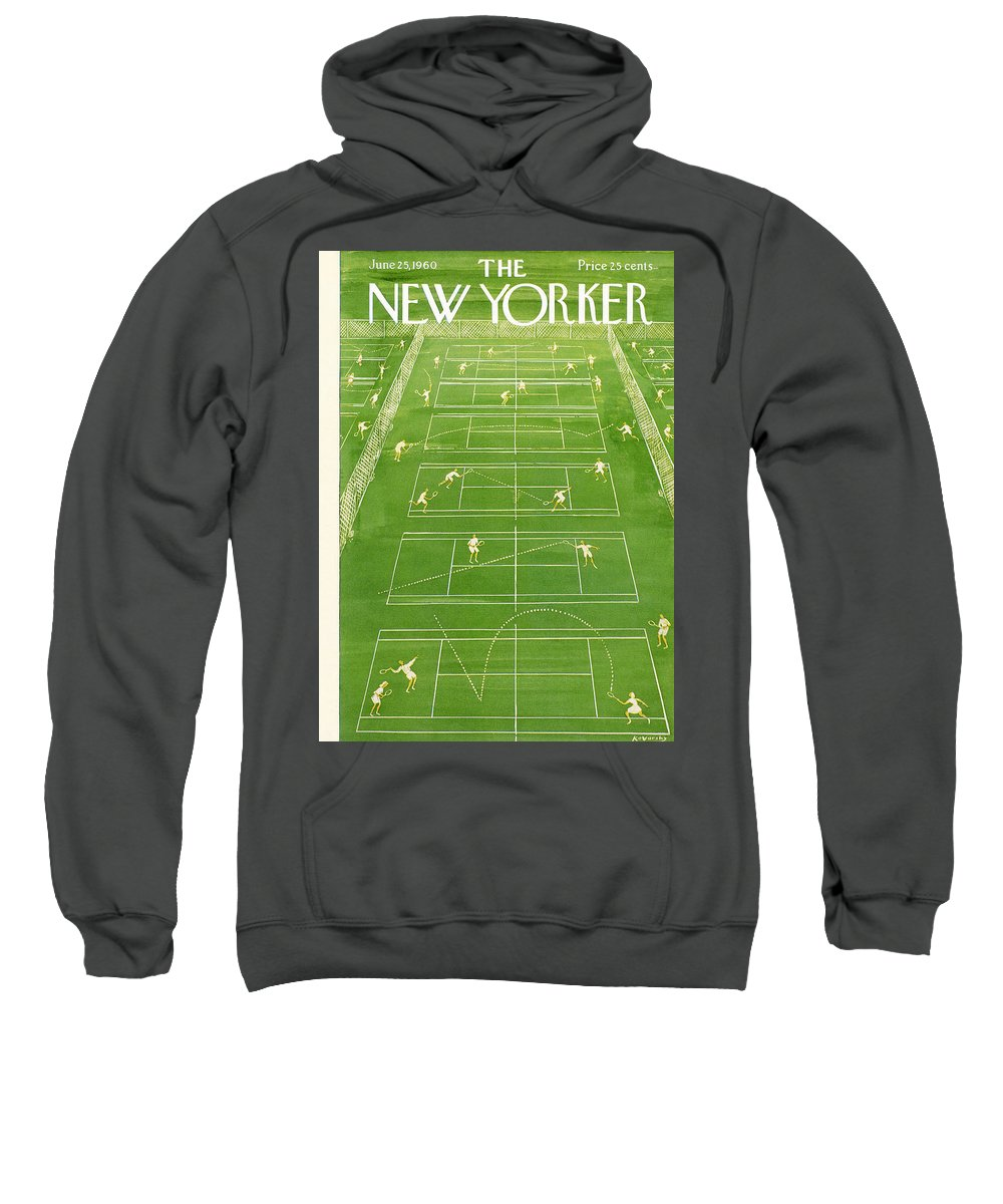 Tennis Sweatshirt featuring the photograph The New Yorker Cover - June 25th, 1960 by Anatol Kovarsky