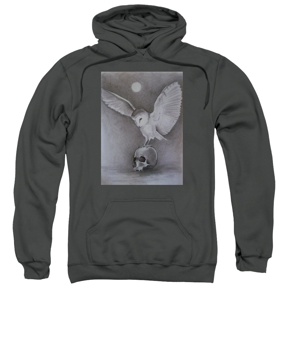 Owl Sweatshirt featuring the drawing The Night Flier by Amber Stanford