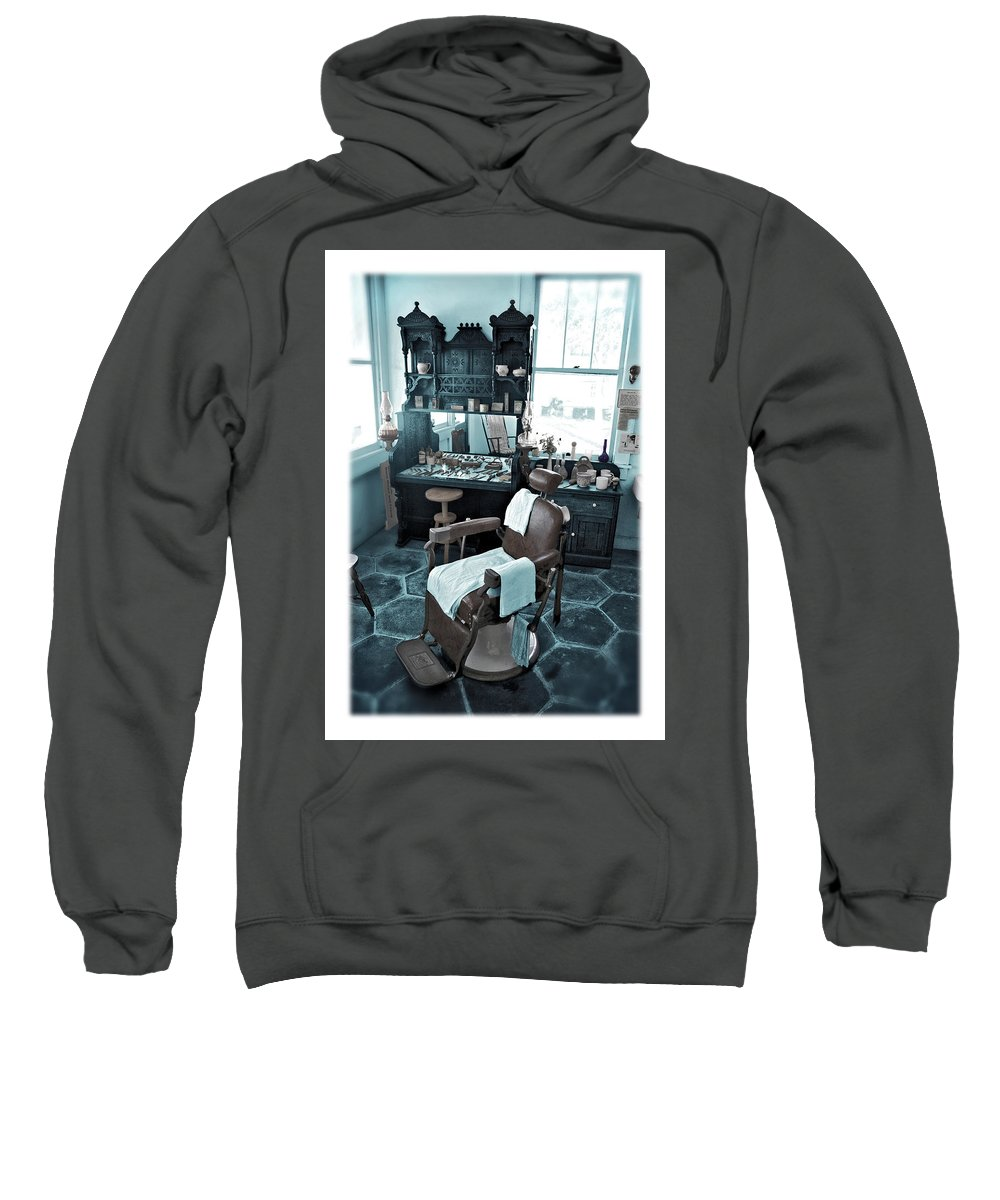 Barber Sweatshirt featuring the photograph The Old American Barbershop by Mal Bray