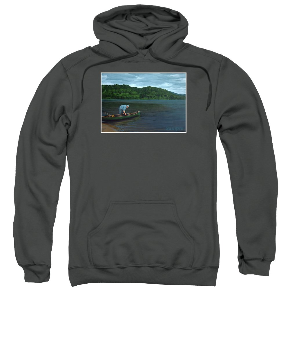 Landscape Sweatshirt featuring the painting The Old Green Canoe by Jan Lyons