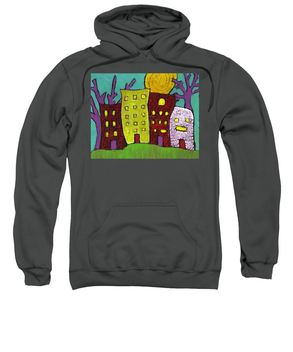 Buildings Sweatshirt featuring the painting The Old Neighborhood by Wayne Potrafka