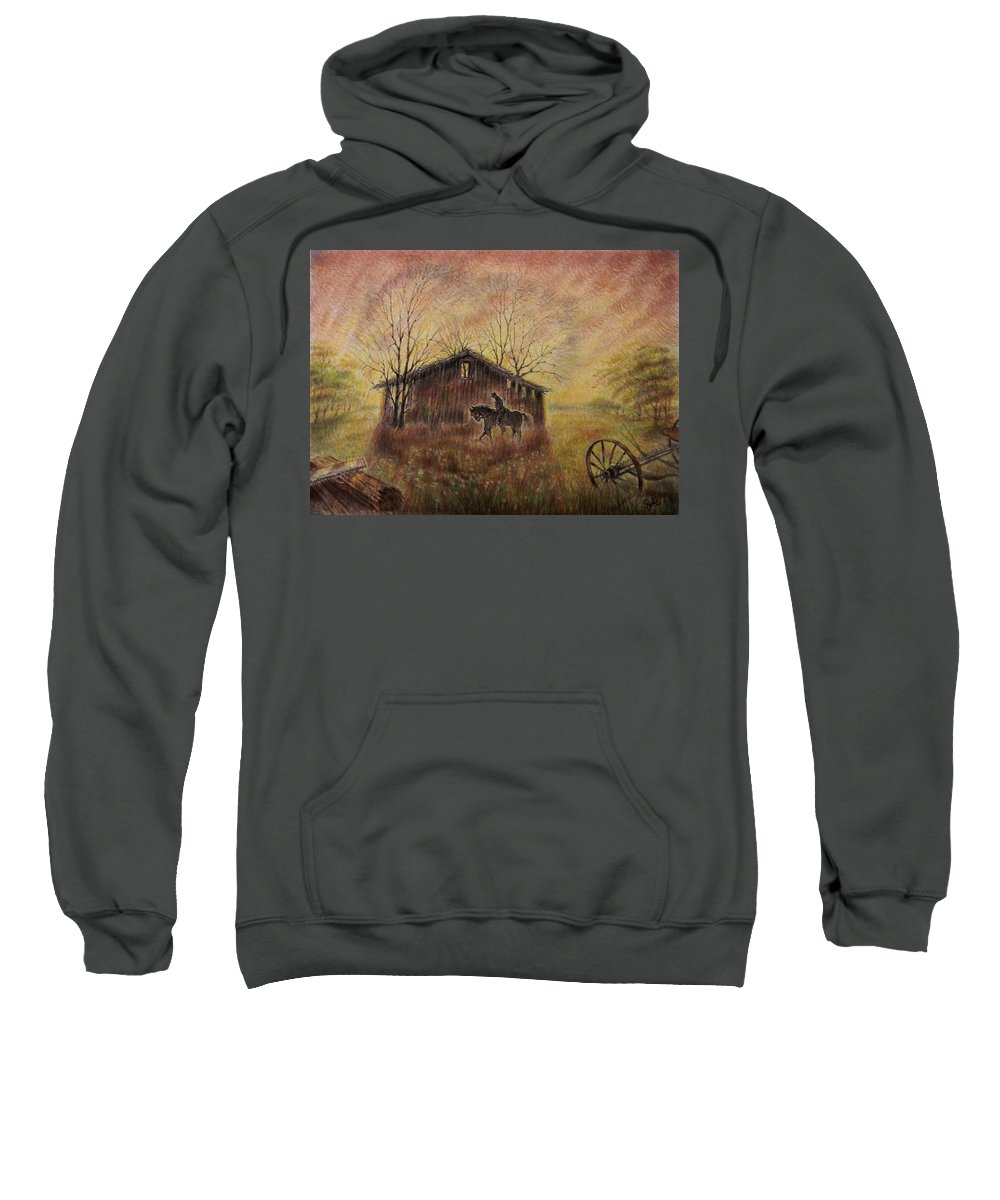 Cowboy Sweatshirt featuring the painting The Old West by Raffi Jacobian