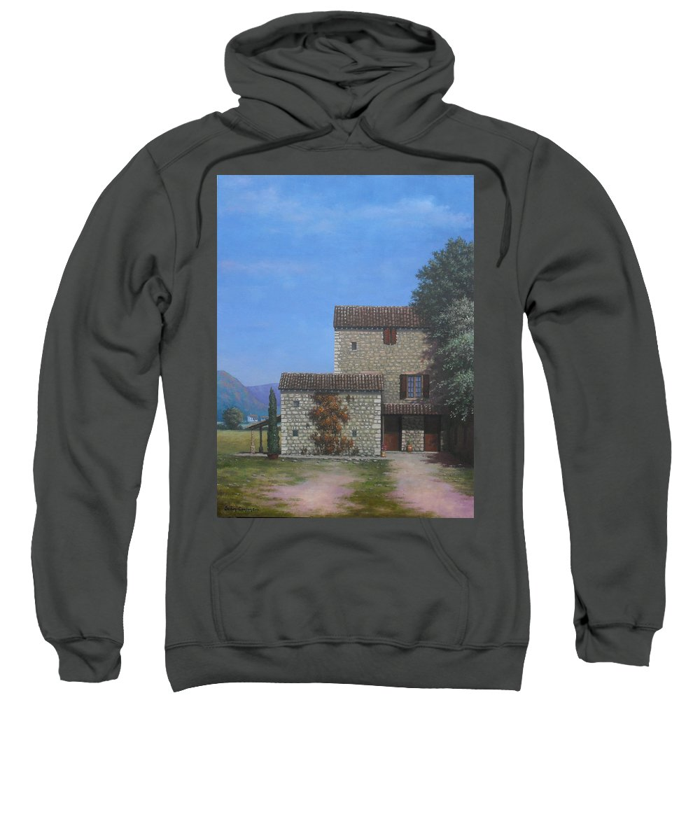Landscape Sweatshirt featuring the painting The Olive Mill Province by Sean Conlon