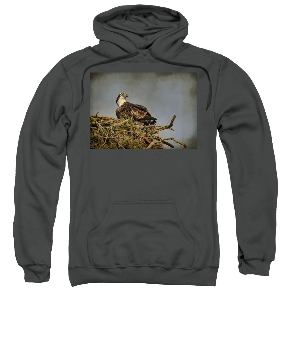 Osprey Sweatshirt featuring the photograph The Osprey Nest by Steve McKinzie