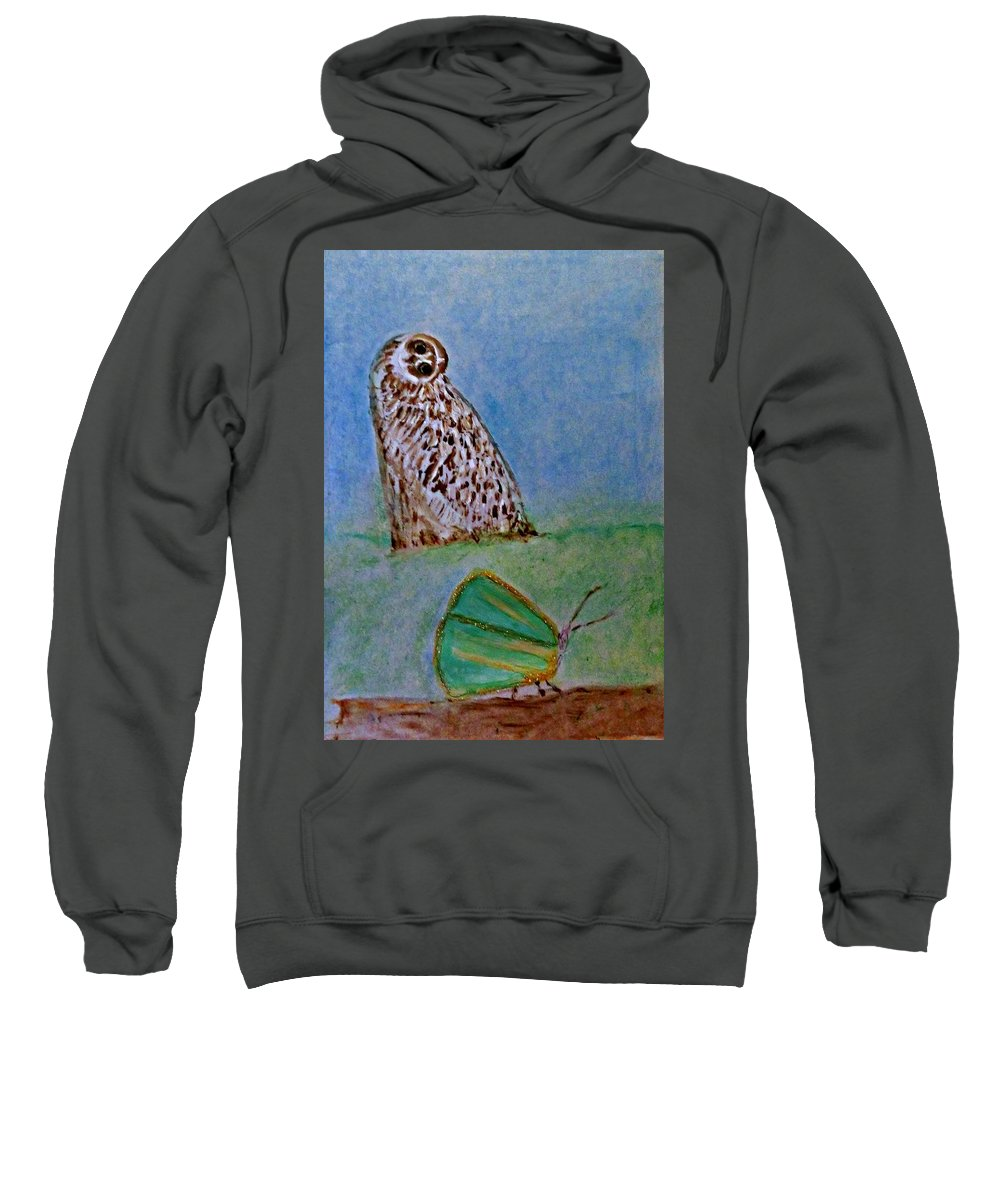 Art Deco Sweatshirt featuring the painting The Owl And The Butterfly by Michela Akers