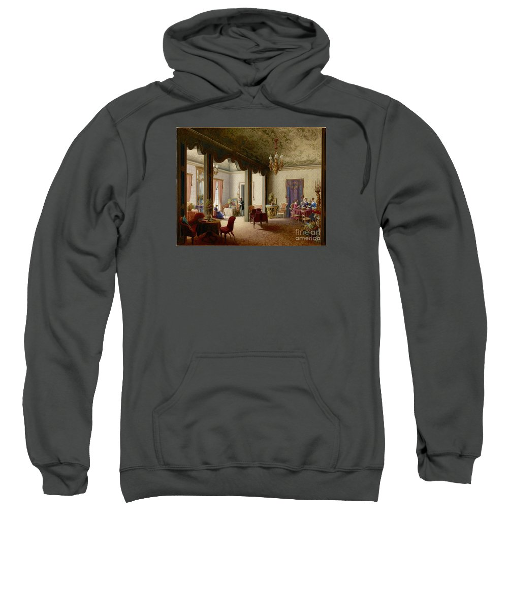 The Palace Of The Empress Alexandra Fjodorovna Of Russia In Palermo Sweatshirt featuring the painting The Palace Of The Empress Alexandra by MotionAge Designs