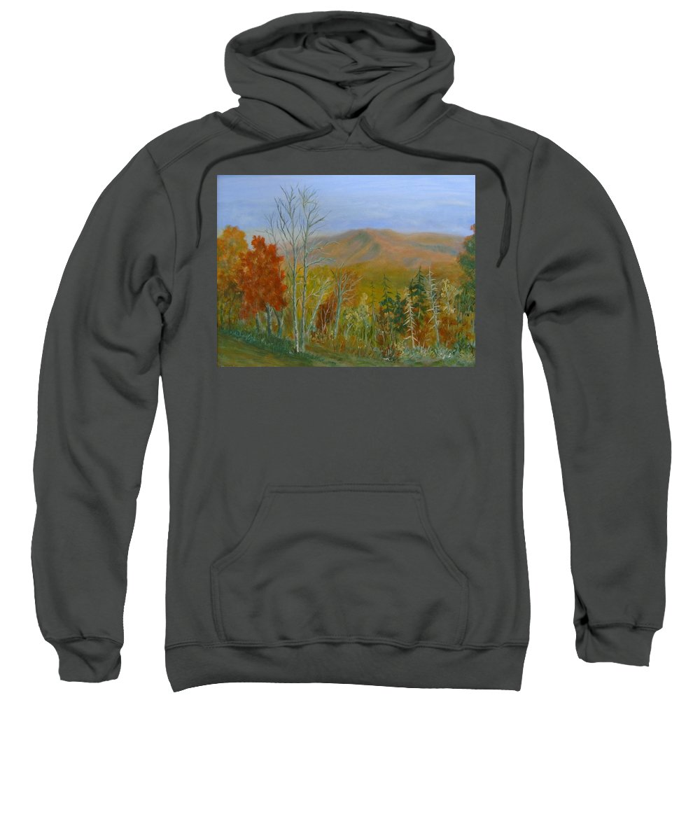 Mountains; Trees; Fall Colors Sweatshirt featuring the painting The Parkway View by Ben Kiger
