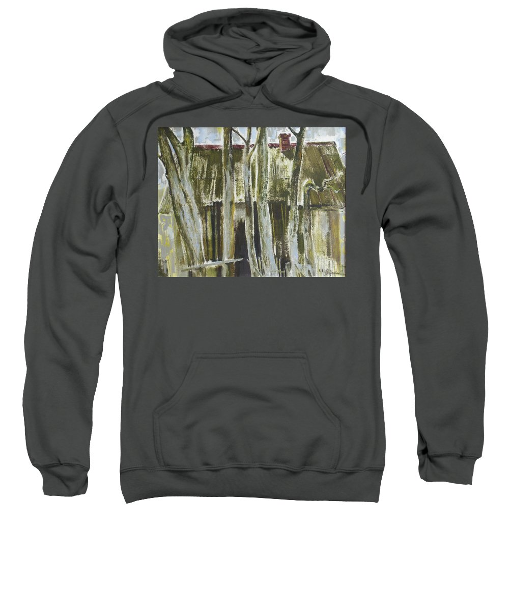 Oil Sweatshirt featuring the painting The Past Space by Sergey Ignatenko