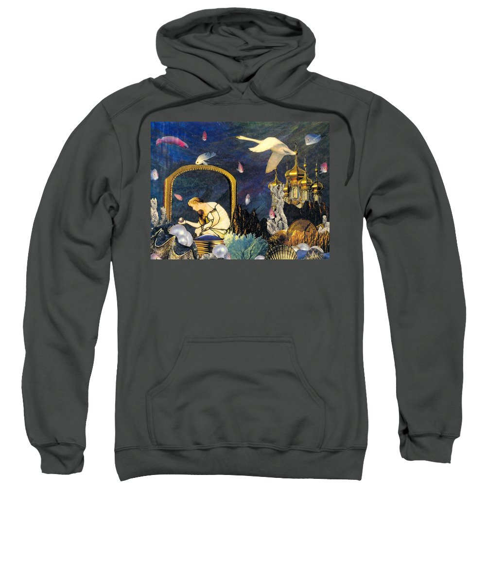 Surealism Sweatshirt featuring the mixed media The Pearl Of Great Price by Gail Kirtz