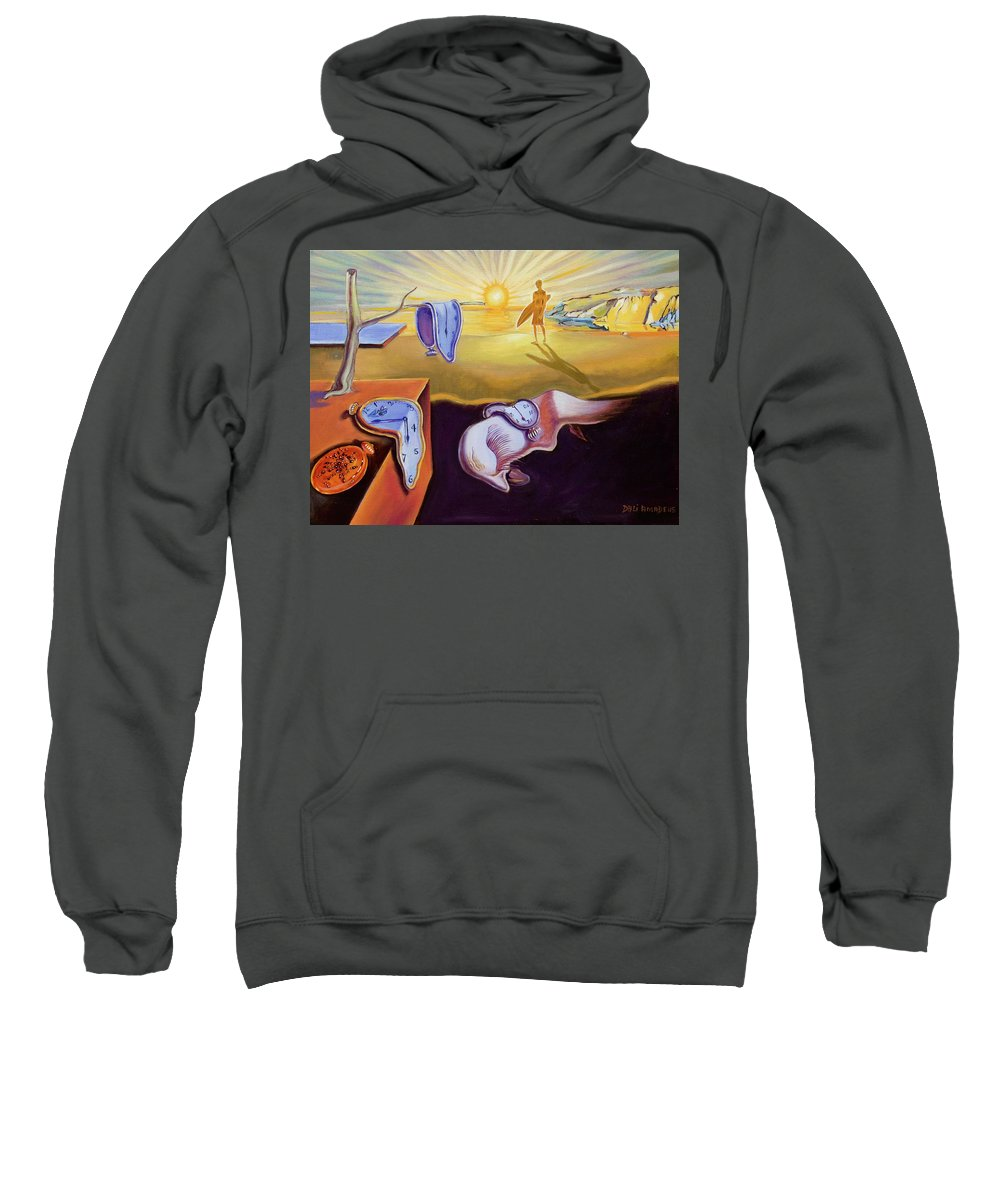 Surrealism Sweatshirt featuring the painting The Persistence Of Memory-amadeus Series by Dominique Amendola