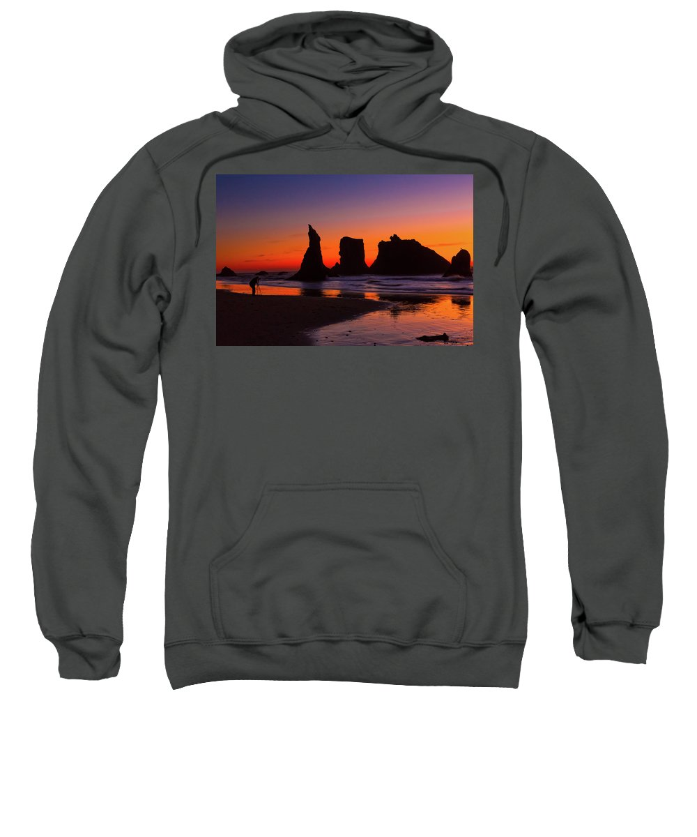 Sunset Sweatshirt featuring the photograph The Photographer by Susan Pantuso