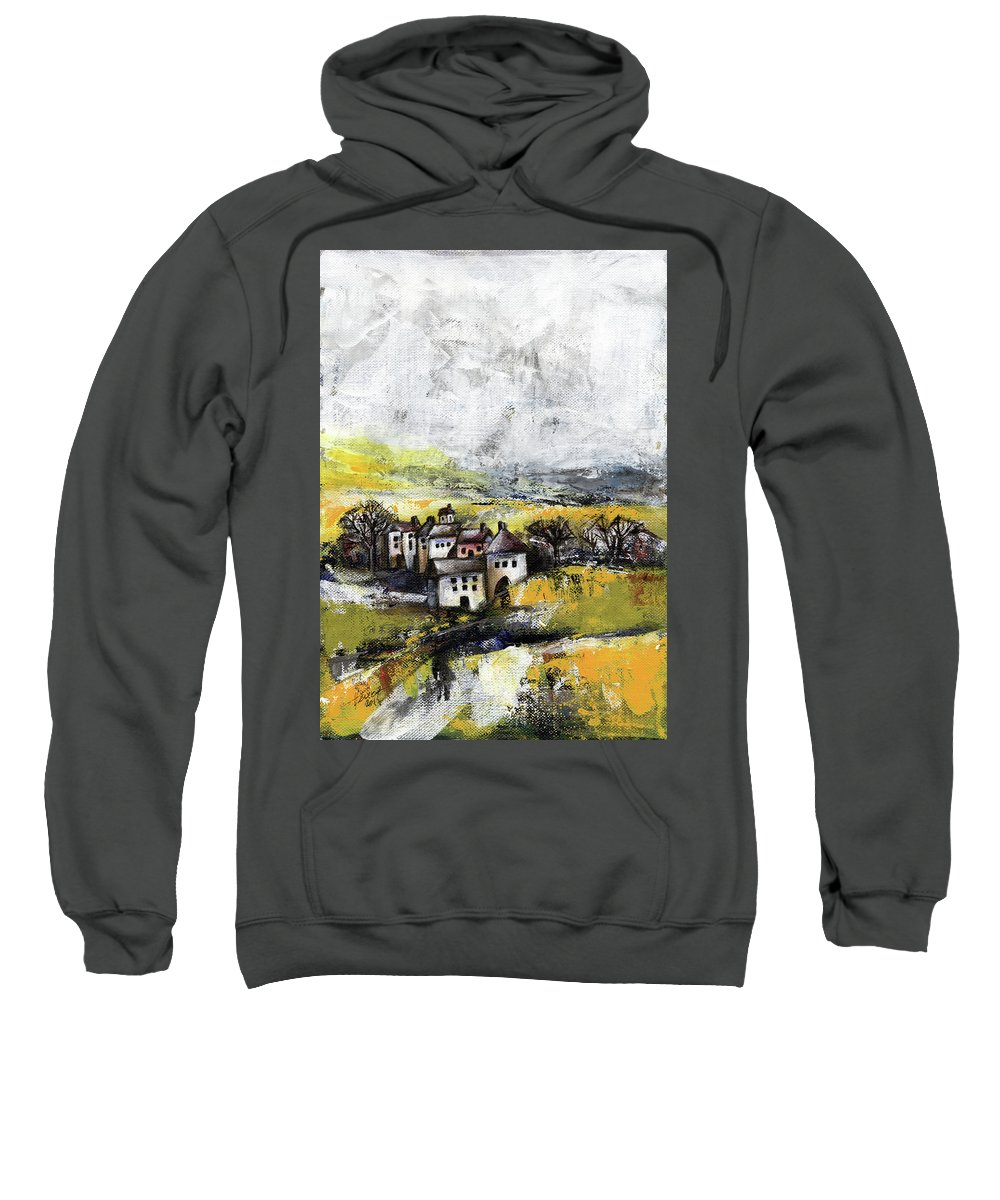 Landscape Sweatshirt featuring the painting The Pink House by Aniko Hencz
