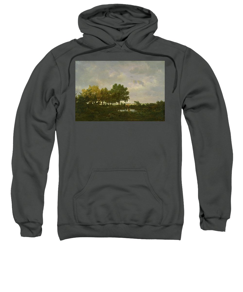 Animal Sweatshirt featuring the painting The Pond, La Mare by Theodore Rousseau