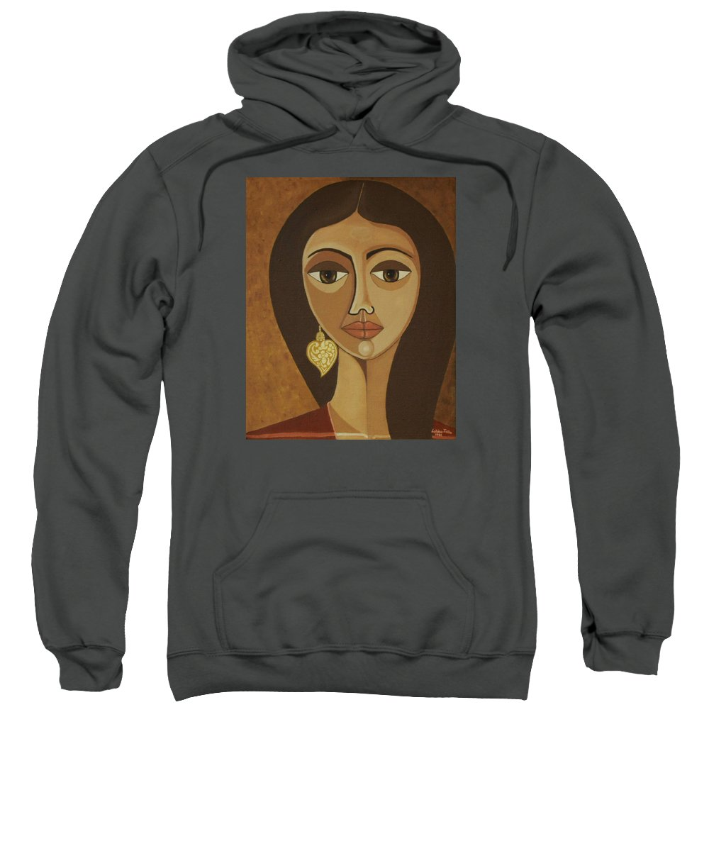 Portuguese Sweatshirt featuring the painting The Portuguese Earring by Madalena Lobao-Tello
