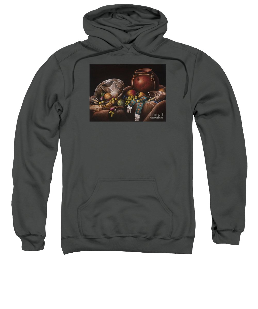 Still Life Southwest Mimbres Pottery Sweatshirt featuring the painting The Potter's Harvest by Kate Robertson